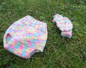 Colorful wool diaper cover and flower headband