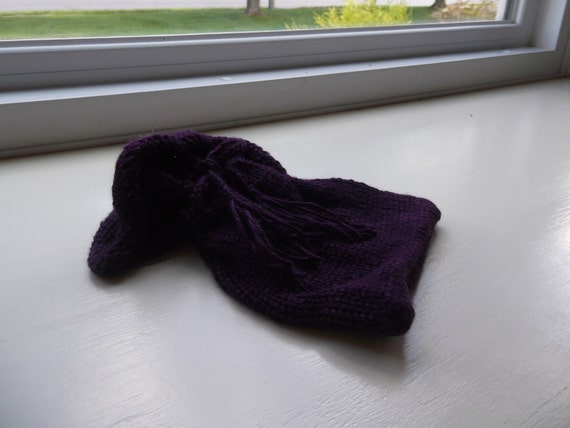 Dark Purple Silk Knitted Pouch