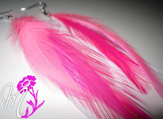 Breast Cancer Awareness Hot & Light Pink White Feather Earrings