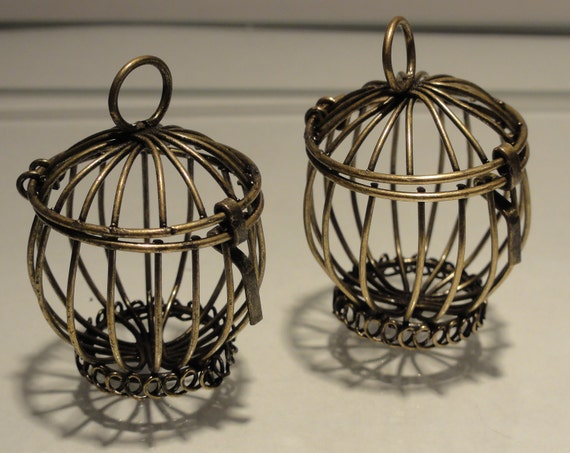 Two Antique Bronze Miniature Cages - Bead Container - Large Pendant