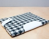New iPad Case - Grey Houndstooth with White Leather Closure