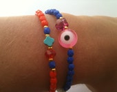 Beaded Bracelets Coral and Blue with evil eye and swarovski bead