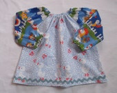 Handmade 70s Tunic Blouse  - Ducks  - for little Girls age 1,5 -2Y (EU Sz 80) Vintage Unikate