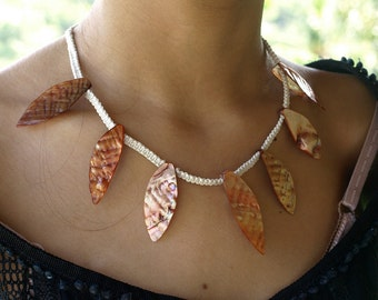 Shell Leave Necklace, White Copper Summer Necklace, Natural Design