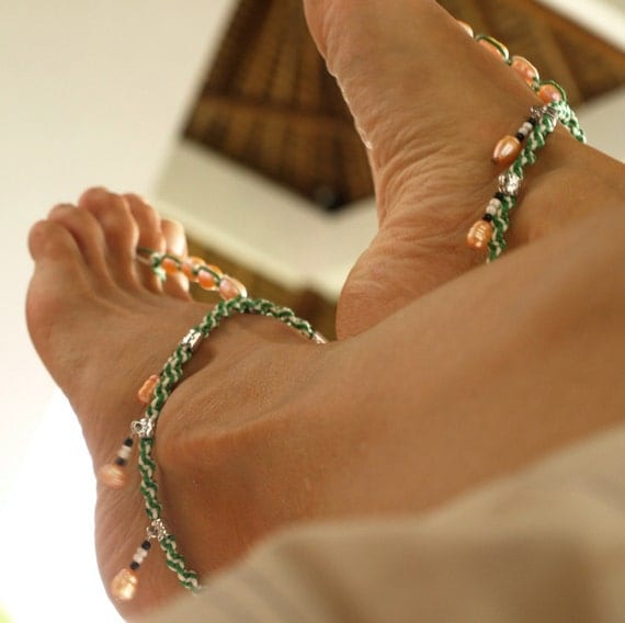 Spring Time, Barefoot Sandal, Anklet, green & white, pink-orange Pearl, 1 Pair, SALE