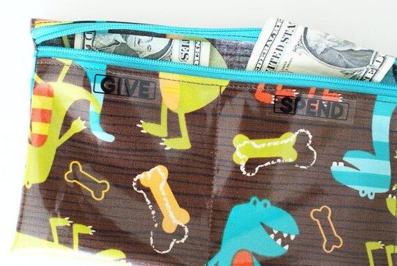 Kids Give Spend Save budget wallet with designer laminated cotton // 3 sections // dinosaurs, brown, turquoise, green, orange