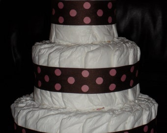 Pink and Brown Polka Dots Diapercake