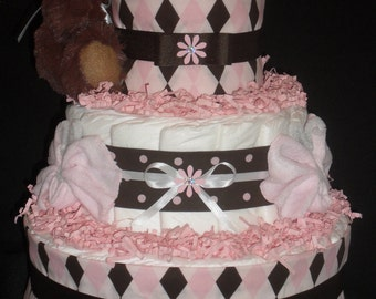 Pink & Brown Argyle Diapercake with Teddy Bear