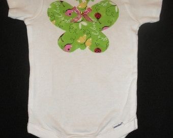 Onesie with Green Butterfly Decoration
