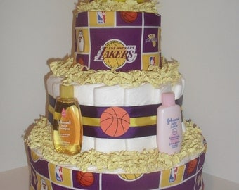 Purple & Gold Los Angeles Lakers Theme Diapercake