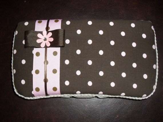 Brown & Pink Dots Baby Wipes Case