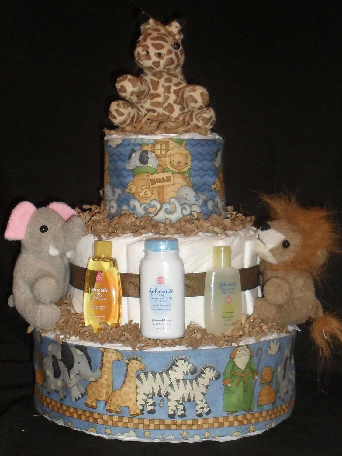 Blue Noah S Ark Animal Theme Diapercake