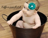 Teal Green baby headbands. infant headband. baby hair accessories. baby hairbows. toddler hair clips. Baby shower gift. newborn photo prop