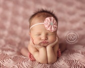 Light Pink Baby Headband - Baby Bows - Baby Hair Bows - Infant Headband - Newborn Photos - Baby Hair Accessories - Baby Girl Headbands