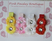 4 Pack Baby Girl Hair Clips - Baby Alligator Hair Clips - Baby Shower Gift- Flower Clip Set -  Spring Floral Hair Clip
