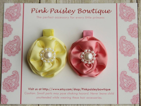 2 Pack Yellow & Pink Flower Clip Set-Alligator Hair CLIP-White Pink Yellow-Infants Baby Toddler Girl Alligator Clips