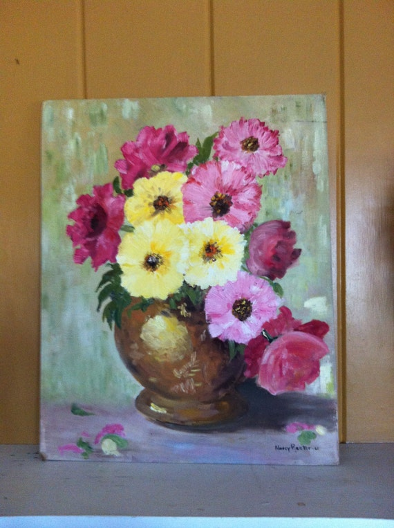 Floral Oil Painting Pinks and Yellows  Vintage Signed and Dated 61 Country French, Shabby Chic, Paris Apartment