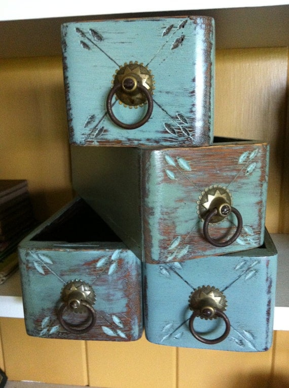Sewing Machine Drawers set of four Painted with Annie Sloans Blue Chalk Paint and Hand Waxed