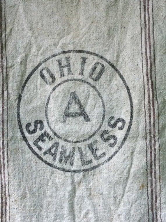 Feed Sack Logo is OHIO SEAMLESS heavy canvas brown strips