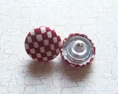 SHOP CLOSING SALE - Burgundy Checks Fabric Covered Button Earrings