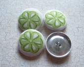 SHOP CLOSING SALE - Green Bows Fabric Covered Buttons - 1-1/8 inch