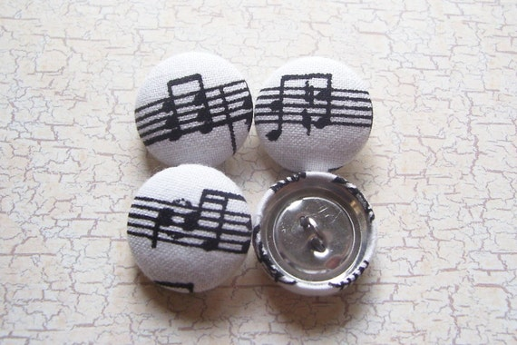 SHOP CLOSING SALE - Music Notes Fabric Covered Buttons - 3/4 inch