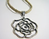 Metal Flower Hemp Necklace