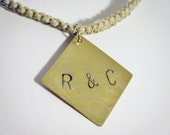 Stamped Charm Couples Necklace Hemp Personalized Couples Gifts