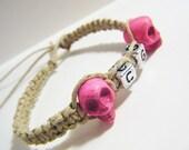 Couples Bracelets Pink Skull Initials