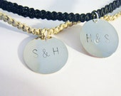 Couples Hand Stamped Charm Necklaces