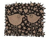 Lovebirds in love sharing a kiss under a shower of hearts and stars. 5 x 7 print great for a wedding day, valentines day or any day.