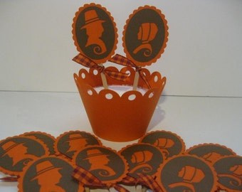 Thanksgiving Cupcake Toppers Pilgrims Orange and Brown