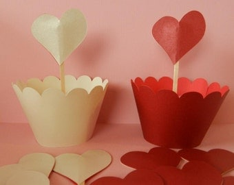 Cupcake Toppers- Red and White Metallic Hearts- RESVERSIBLE