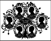 Personalized Family Tree with 6 Silhouettes