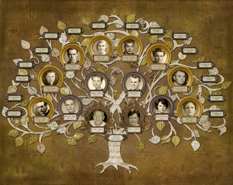 Wedding Family Tree - Four Generation Custom Tree with 14 Photos and 16 labels in Gold