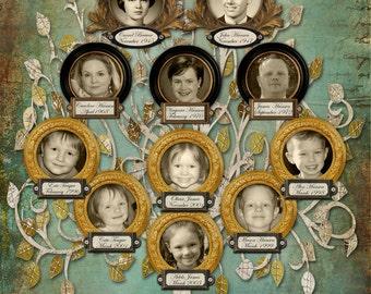 Personalized Family Tree Design- Custom Grandparents Descendants Tree with 12 Photos - Blue