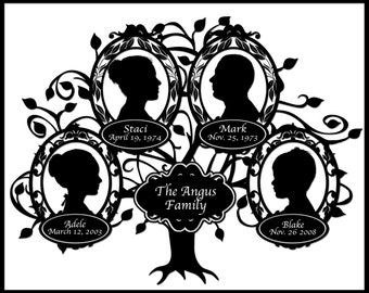 Custom Family Tree with Silhouettes