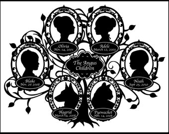 Custom Family Tree with 6 Silhouettes and Pets