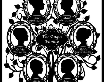 Custom Family Tree - with 6 Silhouettes