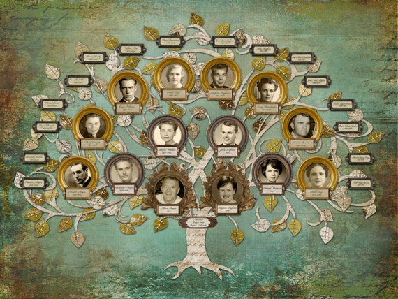 Wedding family tree four generation custom tree with 14 for How to make the best family tree project