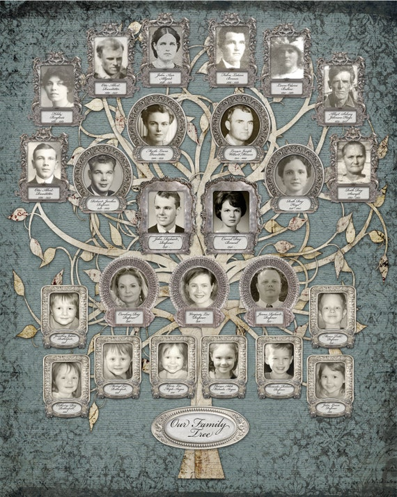 Silver Anniversary - Family Tree - Custom with 25 Photos - Blue Grey Background
