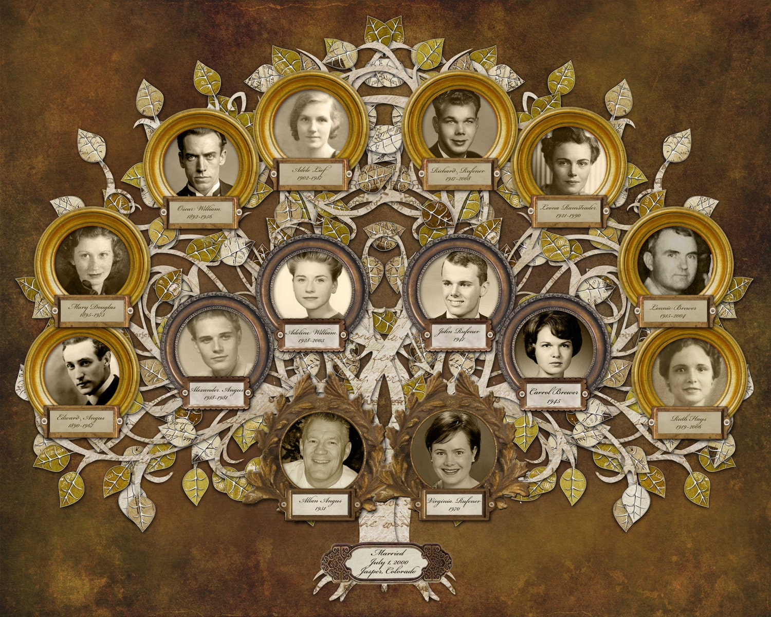 wedding family tree design with 14 photos in gold