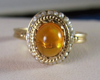 Antique Victorian 14k Fire Opal Seed Pearl Halo Ring