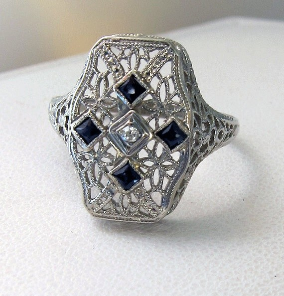 Beautiful Antique Deco 14k Filigree Sapphire Diamond Knuckle Ring - size 9