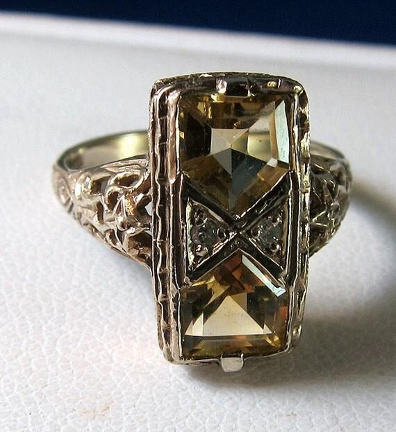 HOLDING --Antique Art Deco 14k Citrine Diamond Filigree Ring