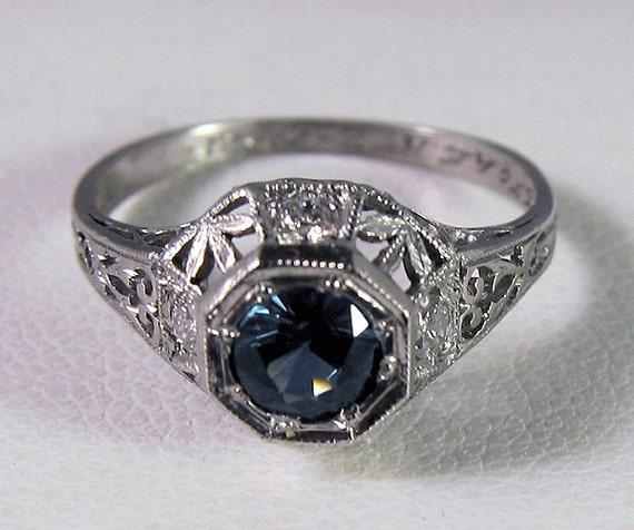 HOLDING for Emily -1927 Antique Art Deco Platinum  .50 Carat Medium Blue Sapphire Diamond Filigree Ring