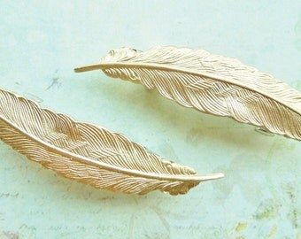 Small Feather Barettes - Petite Raw Brass French Barettes, Set of Two, Gold Tone, Shabby Chic, Bridal, Flower Girl ,Gift Set