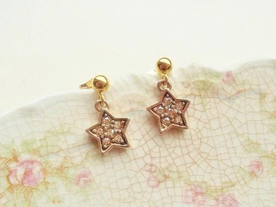 LAST PAIR - Golden Topaz Pave  Star Earrings - Gold Stars with Embedded Swarovksi Crystals - Post Earrings - 14K Gold