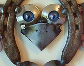Barn Owl Wind Spinner - Recycled Steel w/ Horseshoes