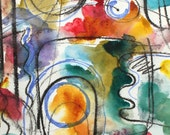 Abstract Composition - Original contemporary fine art watercolour painting